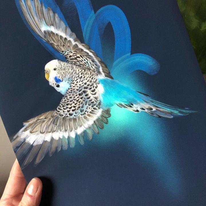 picture of Bird-Azure-Beak-Blue-Feather-Wing-Aqua-Art-Electric blue-1892753177552492