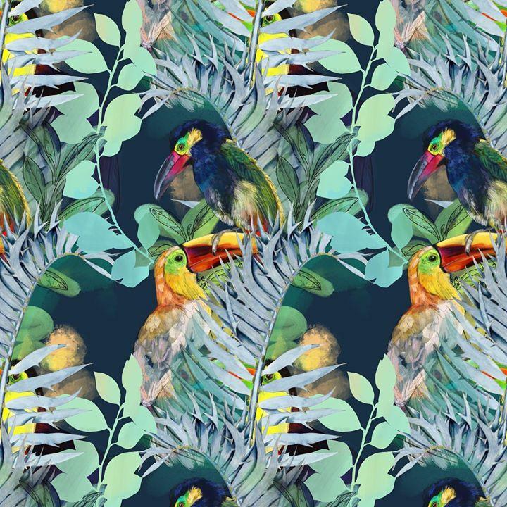 picture of Bird-Beak-Piciformes-Feather-Wildlife-Plant-Illustration-Toucan-Pattern-1568600753301071