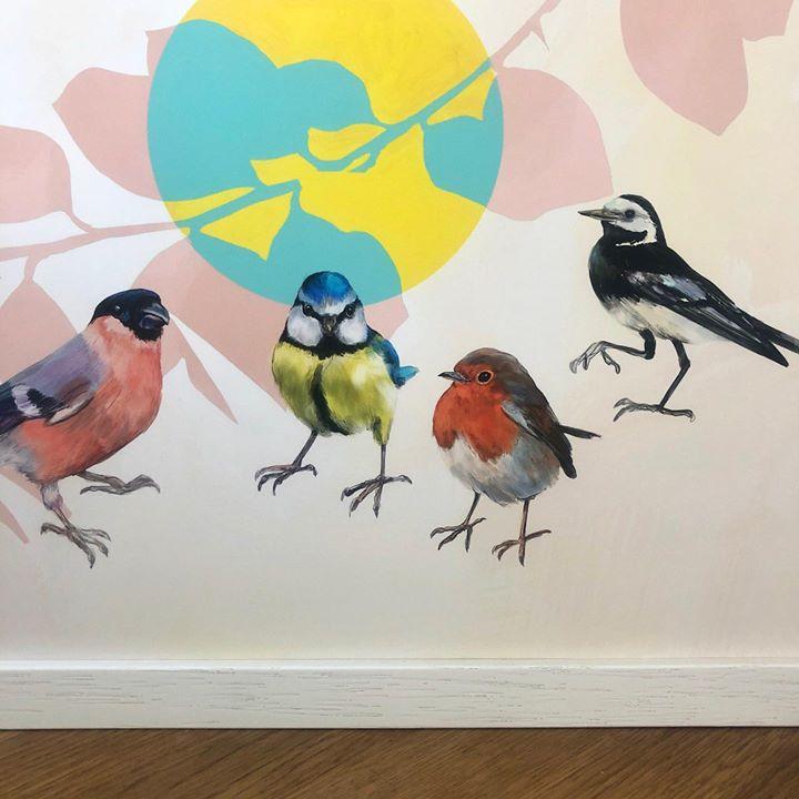 picture of Bird-European robin-Finch-Songbird-Watercolor paint-Beak-Perching bird-Branch-Illustration-1594690294025450