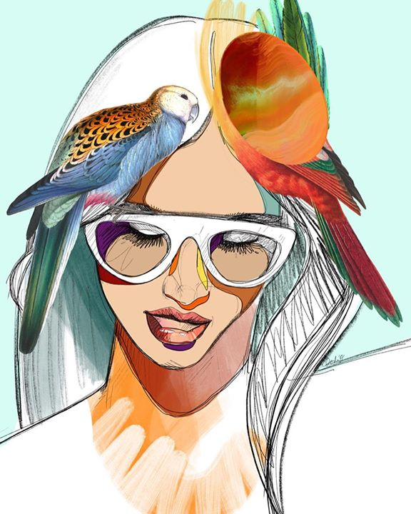picture of Bird-Illustration-Parrot-Fashion illustration-Art-Headgear-Sketch-Drawing-Watercolor paint-1200393273455156