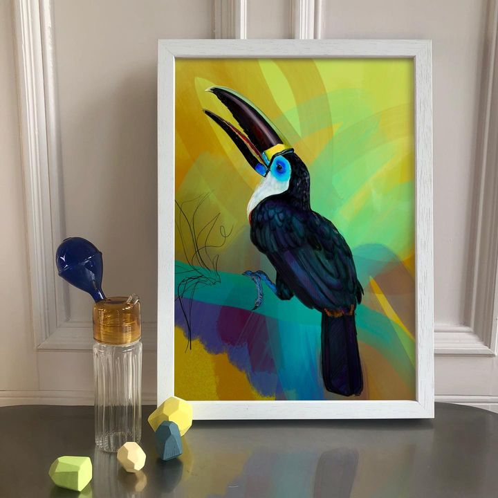 picture of Bird-Picture frame-Paint-Toucan-Beak-Art paint-Art-Painting-Feather-1886573078170502