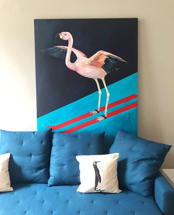 picture of Bird-Turquoise-Teal-Water bird-Room-Flamingo-Cushion-Wall-Greater flamingo-1347834742044341