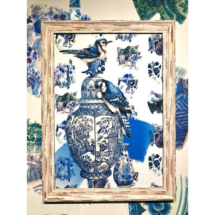 picture of Blue and white porcelain-Picture frame-Textile-Bird-Porcelain-Tapestry----1217764195051397