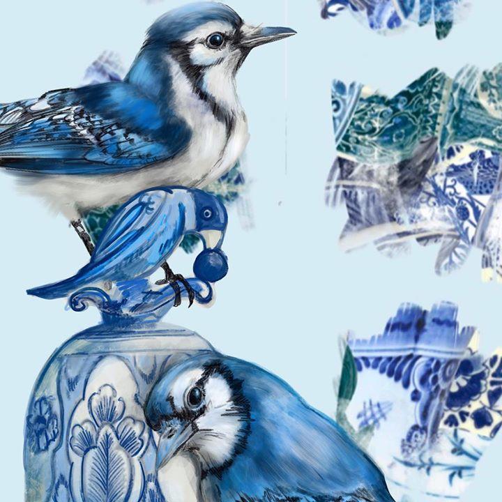 picture of Blue jay-Bird-Jay-Blue and white porcelain-Porcelain-Perching bird-Songbird-Beak-Art-1217131858447964