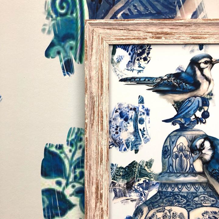 picture of Blue jay-Blue-Jay-Bird-Porcelain-Blue and white porcelain-Illustration-Crow-like bird-Art-1217764195051397