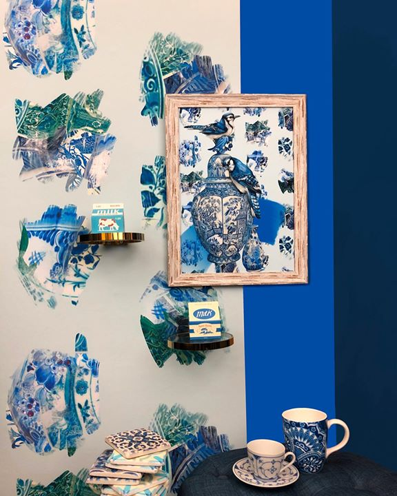 picture of Blue-Blue and white porcelain-Porcelain-Turquoise-Azure-Room-Ceramic-Interior design-Illustration-1424278477733300