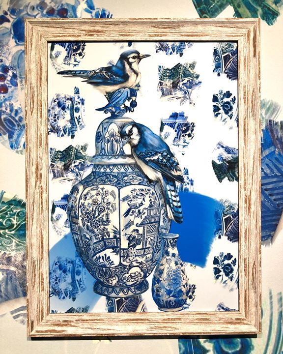 picture of Blue-Blue and white porcelain-Textile-Art-Picture frame-Printmaking-Turtle-Tapestry-Sea turtle-32074-124871