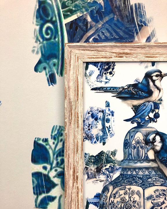 picture of Blue-Porcelain-Blue and white porcelain-Blue jay-Illustration-Jay-Perching bird-Bird-Songbird-32074-97185