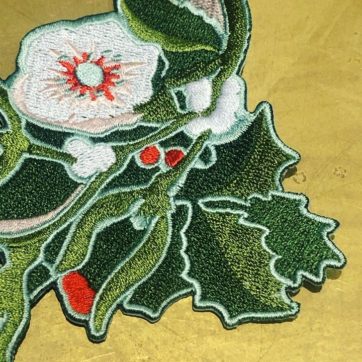 picture of Botany-Holly-Plant-Leaf-Flower-Textile-Embroidery-Perennial plant-Art-41314-161034