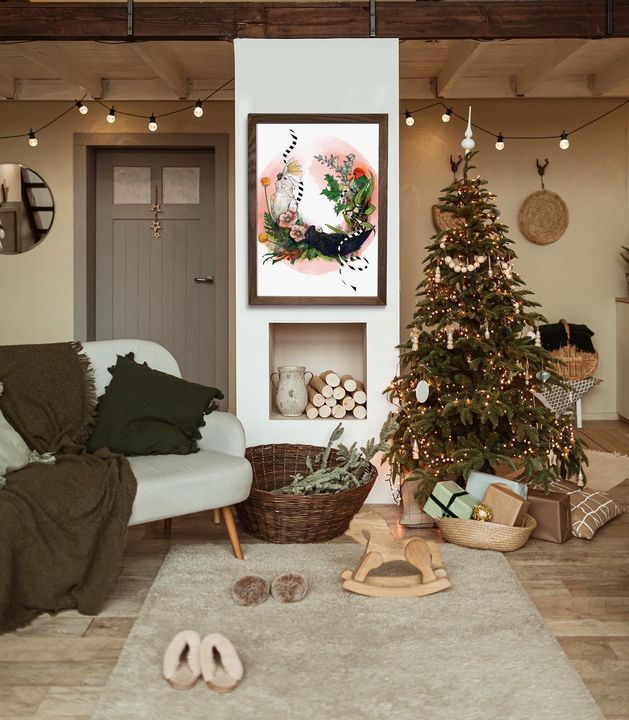picture of Christmas tree-Plant-White-Wood-Couch-Interior design-Floor-Flooring-Wall-1787140968113714