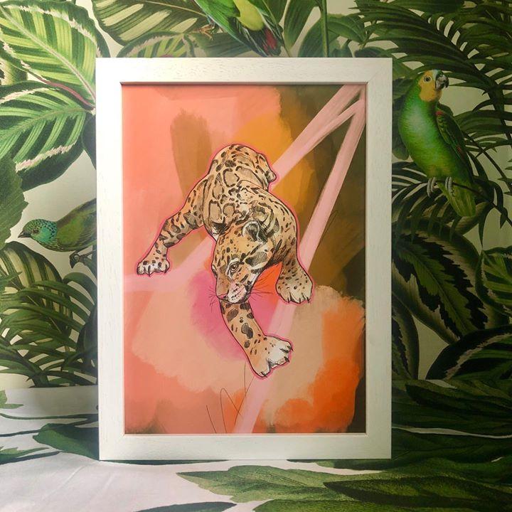 picture of Felidae-Wildlife-Jaguar-Big cats-Carnivore-Art-Plant-Illustration-Leopard-33243-91960