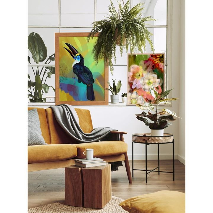 picture of Furniture-Picture frame-Bird-Plant-Window-Comfort-Branch-Interior design-Yellow-1886573074837169
