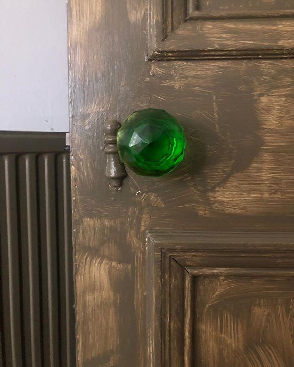 picture of Green-Door handle-Wood-Glass-Door-Wood stain----29134-54605