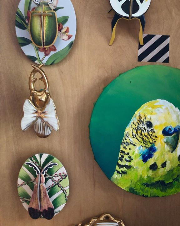 picture of Green-Feather-Bird-Fashion accessory-Pendant-Wildlife-Budgie-Platter-Earrings-26134-69334