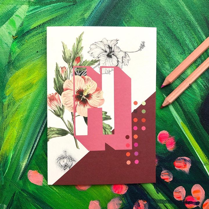 picture of Green-Illustration-Pink-Art-Graphic design-Plant-Flower-Greeting card-Wildflower-41389-135416