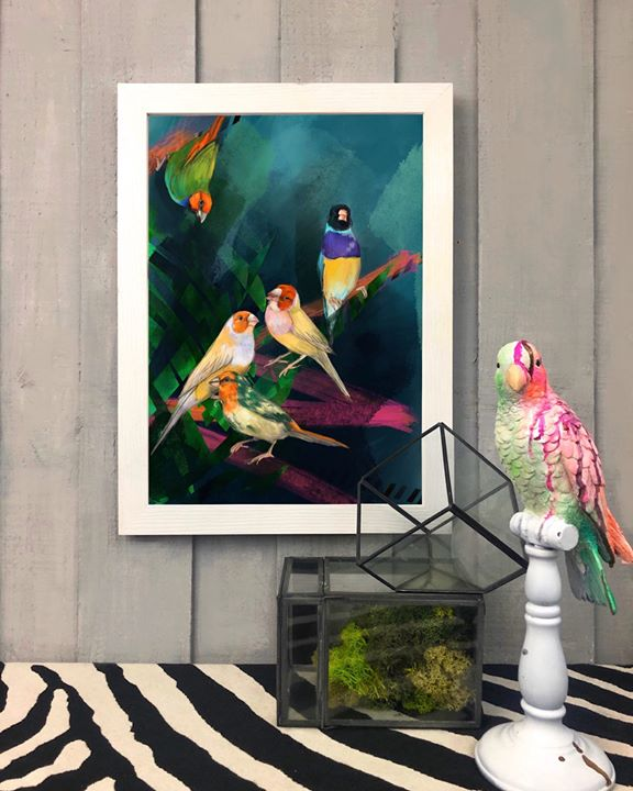 picture of Modern art-Bird-Parrot-Art-Painting-Room-Still life-Visual arts-Plant-1435509079943573