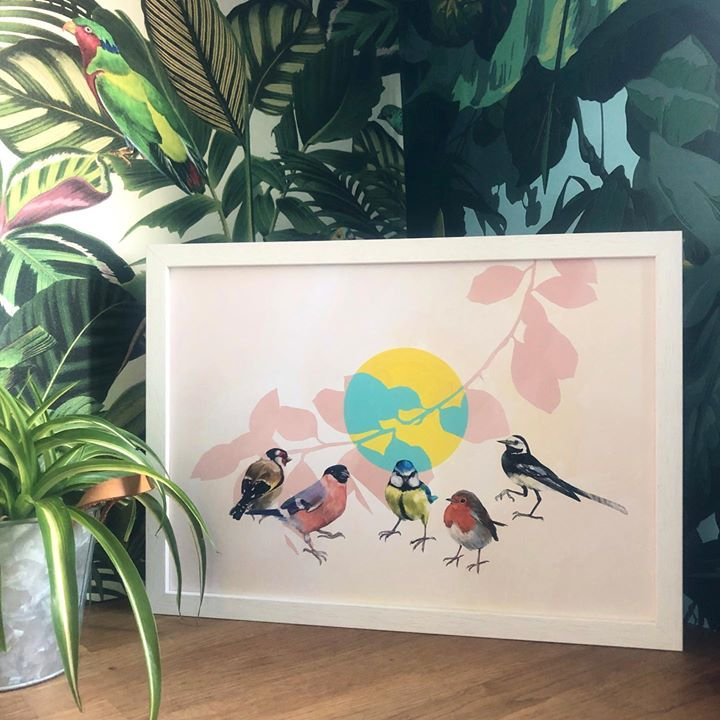picture of Natural environment-Illustration-Leaf-Wall-Visual arts-Plant-Bird-Art-Drawing-1594690264025453