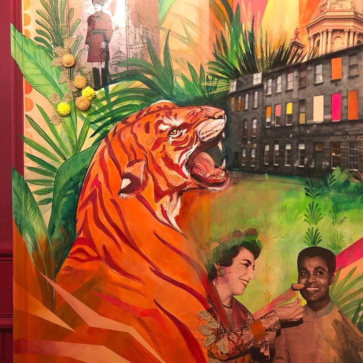 picture of Painting-Art-Tiger-Illustration-Visual arts-Felidae-Bengal tiger-Big cats-Mural-1293087930852356