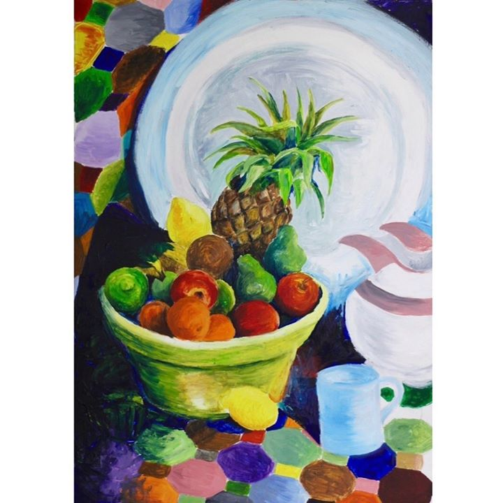 picture of Painting-Still life-Fruit-Vegetarian food-Pineapple-Plant-Still life photography-Modern art-Food-1513741192120361