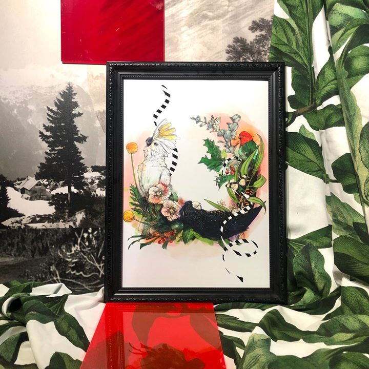 picture of Picture frame-Painting-Botany-Art-Watercolor paint-Tree-Plant-Illustration-Modern art-25108-106493