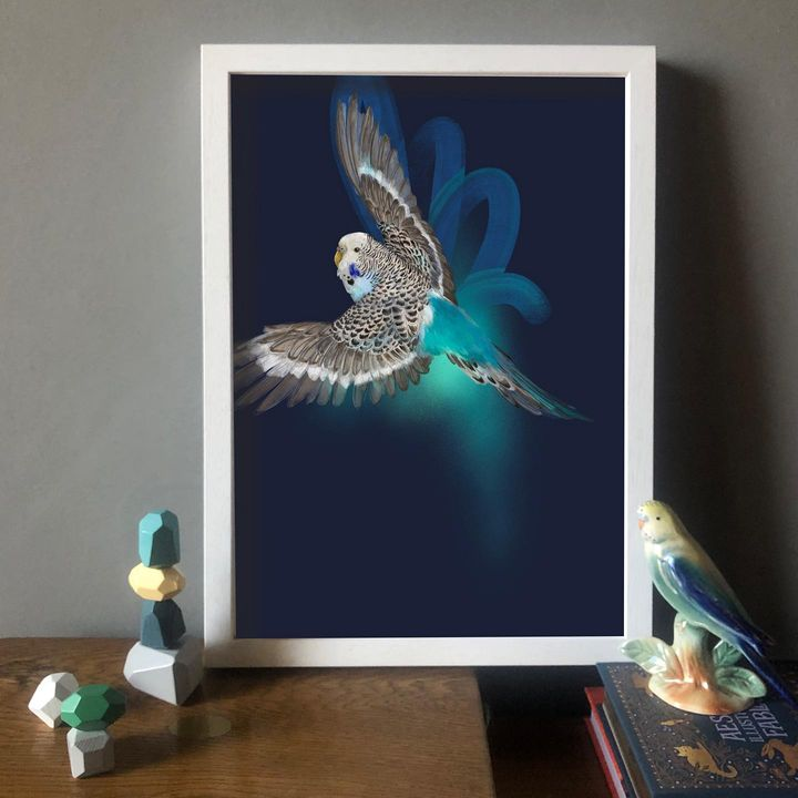 picture of Picture frame-Vertebrate-Azure-Purple-Rectangle-Art-Insect-Feather-Aqua-1892753174219159