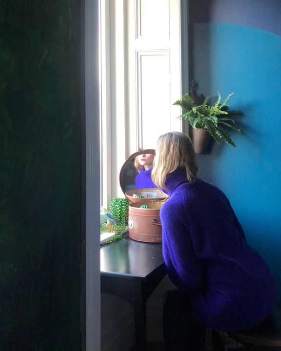 picture of Plant-Table-Houseplant-Blue-Purple-Textile-Window-Interior design-Comfort-1745975728896905