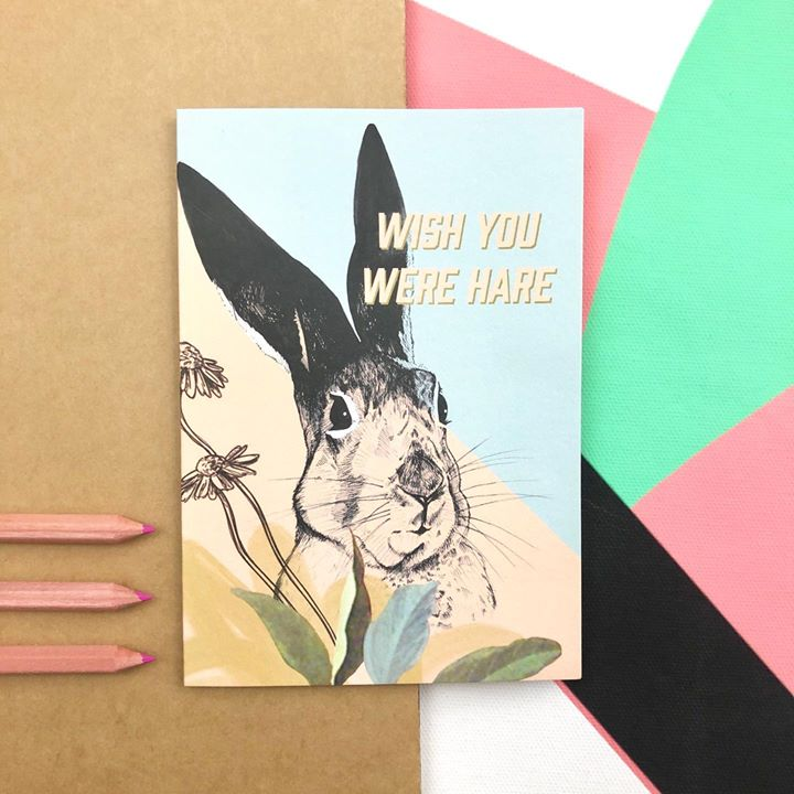 picture of Rabbit-Rabbits and Hares-Hare-Illustration-Pink-Greeting card-Art-Paper-Present-1487990934695387
