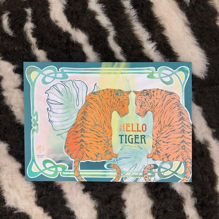 picture of Turquoise-Orange-Textile-Fur-Pattern-Linens-Label-Cap--1264612983699851