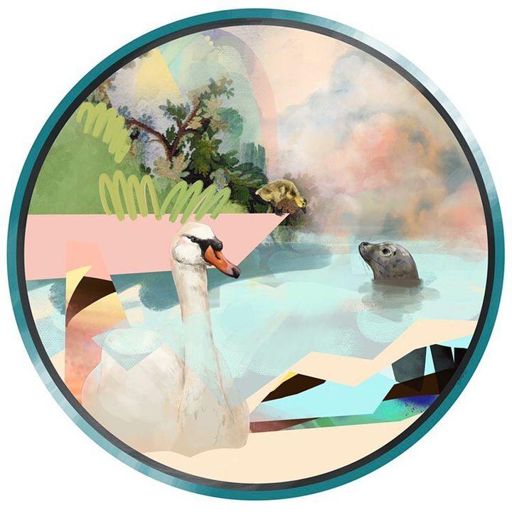 picture of Vertebrate-Art-Painting-Illustration-Circle-Rectangle-Tree-Landscape-Plant-1853133598181117