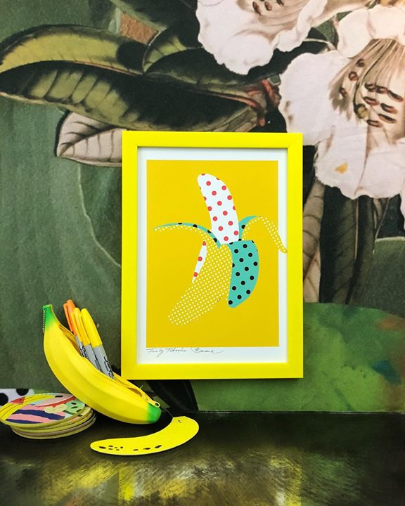 picture of Yellow-Feather-Design-Illustration-Banana-Art-Plant-Pattern-Pineapple-1497904283704052